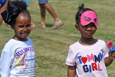 Super hero masks, lollipops, and neat t-shirts all add up to fun at the Back 2 School event at Gethsemane Baptist Church.
