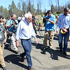 Sen. Bernie Sanders is surrounded by media while touring a Camp Fire-raveged neighborhood Thursday in Paradise. (Matt Bates -- Enterprise-Record)