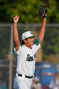 De La Salle pitcher Dylan White (39) celebrates after the final out against Heritage in the seventh inning of the NCS Division I baseball championship at Diablo Valley College in Pleasant Hill, Calif., on Saturday, May 25, 2019. De La Salle defeated Heritage 10-1 to win it's 4th straight NCS title and 28th game in a row. (Jose Carlos Fajardo/Bay Area News Group)