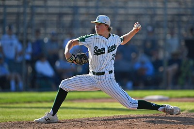 De La Salle pitcher Kyle Harrison (35) pitches against Heritage in the fourth inning of the NCS Division I baseball championship at Diablo Valley College in Pleasant Hill, Calif., on Saturday, May 25, 2019. De La Salle defeated Heritage 10-1 to win it's 4th straight NCS title and 28th game in a row. (Jose Carlos Fajardo/Bay Area News Group)