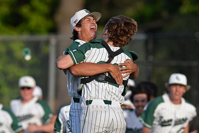 De La Salle pitcher Dylan White (39) celebrates with catcher Jared Amigh (22) after the final out against Heritage in the seventh inning of the NCS Division I baseball championship at Diablo Valley College in Pleasant Hill, Calif., on Saturday, May 25, 2019. De La Salle defeated Heritage 10-1 to win it's 4th straight NCS title and 28th game in a row. (Jose Carlos Fajardo/Bay Area News Group)