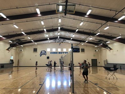 CORE Butte Charter School has been renovating the gym once used by Chico Christian School, where sports and music classes are now often held like this volleyball pratic Tuesday, August 6, 2019. 9Natalie Hanson -- Enterprise-Record)