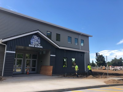 The new high school building at CORE Butte Charter's campus is nearly finished for the fall semester as of Tuesday, August 6, 2019. (Natalie Hanson -- Enterprise-Record)