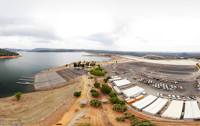 An aerial panoramic view of the newly opened spillway boat launch is seen Friday in Oroville. (Matt Bates -- Enterprise-Record)