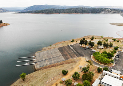 An aerial view of the newly opened spillway boat launch is seen Friday in Oroville. (Matt Bates -- Enterprise-Record)