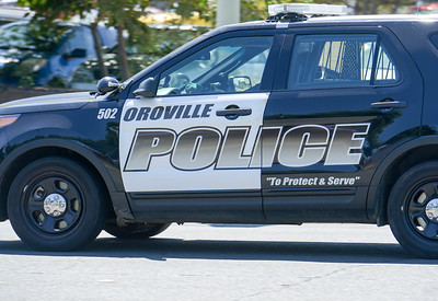 An Oroville police cruiser drives down Lincoln Street on Tuesday in Oroville. (Matt Bates -- Enterprise-Record)