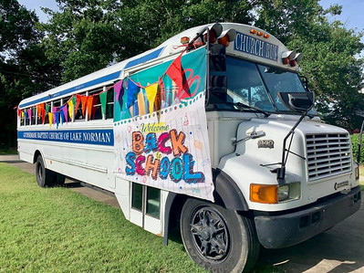 The Gethsemane Church bus was parked on the front lawn of the church to make sure folks didn't miss the event. [photo from St. Albans Episcopal Church]
