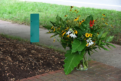 Flowers were placed on the sidewalk and around the front porch for the party. (Bill Giduz photo)