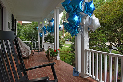 Lots of balloons on the front porch for the socially-distanced celebration. (Bill Giduz photo)