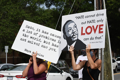 Signs of Love responding to words of hate.