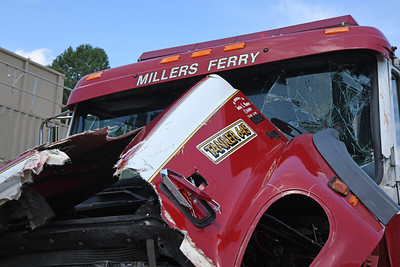 The damaged Millers Ferry tanker truck had been commissioned in memory of 19-year-old fallen firefighter Justin E. Monroe. Monroe died in the line of duty in 2008. He was a full-time firefighter in Salisbury, and a volunteer fire-fighter at the Millers Ferry VFD.