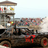 A demolition derby car smokes after a hit at the Effingham County Fair Saturday night.<br /> Tony Huffman photo