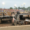 Cars smashed into each other and the protective retaining walls during the demolition derby at the Effingham County Fair Saturday night.<br /> Tony Huffman photo