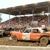 Jackson Loy, of Beecher City, braces for a hit in his W9 car during the demolition derby at the Effingham County Fair Saturday night.<br /> Tony Huffman photo