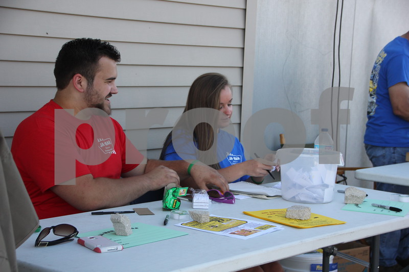 Friday, August 5, 2016, Jamars in Fort Dodge held Cruise Night. There was cars, food, and music galore. Pictured here (left to right) is: Blake Strickland and Jacey Ferrell manning the tables for signing in.