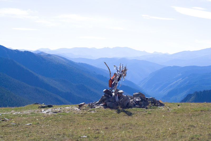 Mountain panorama with fetishes