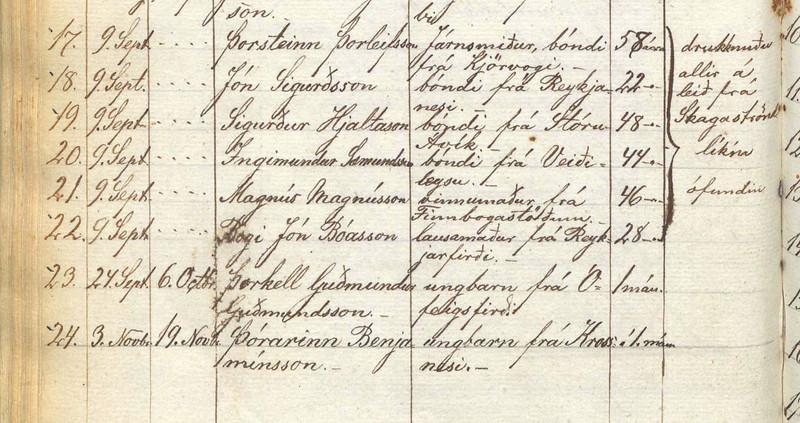 1882 látnir -drukknuðu allir á leið frá Skagaströnd - líkin ófundin