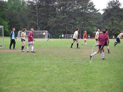 That's Roberta on the left, helping defend our goal.