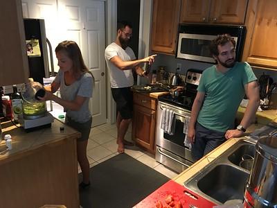 Three master chefs at work.