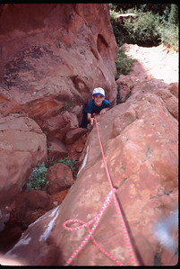 We're heading up the infamous Tourist Gully - belay on.