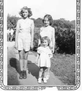1943 or '44.  L-R: Virginia Anne, Marilyn and little Rose Anne.