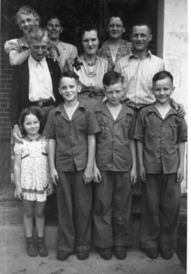 Approx 1940.  L-R front: Marilyn, Sonny, Tom & John.  Back: Grandma & Grandpa Jamie, Katherine, Ethyl, and Helen & Earl.
