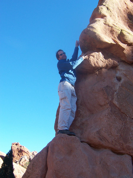 Not many climbers have the balls to climb rope-less!