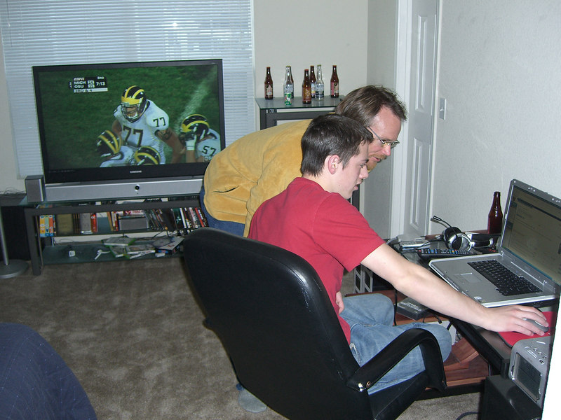 """Late Sat. afternoon - and back in COS at Jason's pad. ..[He """"moved out"""" on his own this summer, after he turned 18.] It was Michigan vs Ohio State on the HUGE flat screen."""