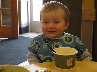 Brayden loves his soup.
