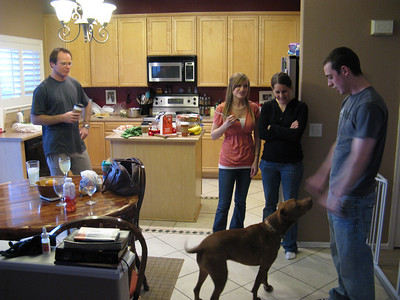 "OK, Saturday evening at Lindsay's and Kyle's home in Parker. That's one of Jason's dogs - not the ""stupid"" one."
