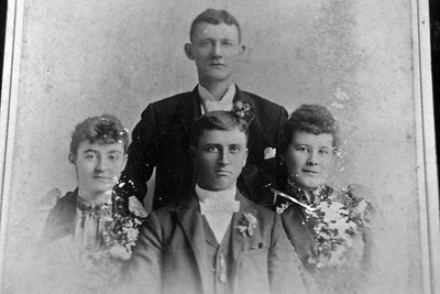 Lower right: Victor Lee and Mary Ellen's wedding day - 2/29/1892.  Uncle Joe Butler and Aunt Minnie, shown here, were best man and maid of honor.