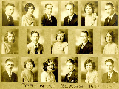 Mom's high school class of 1930.  She's top row, 2nd from left. In 1980, she went back to Toronto for her 50th High School Reunion!