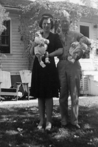 """Baby twins - Casper, WY.  Born 6/29/43.  We were renting the basement of the Timlin's home.  Mrs. Timlin turned 104 in January '06!  Mom remained good friends with the Timlins and their daughter Catherine all her life.  Catherine recently mentioned this to me: """"Your Mom was a little put out with your Dad sometimes.  He insisted on carrying both babies at once.  He was so proud of you, and perhaps afraid it would not be apparent that he had TWO if he carried only one."""""""