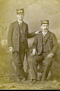 Mom's father standing: Victor Lee Jamison - a streetcar conductor in Kansas City when he met Mary Ellen Butler. Taken about 1890 or so.