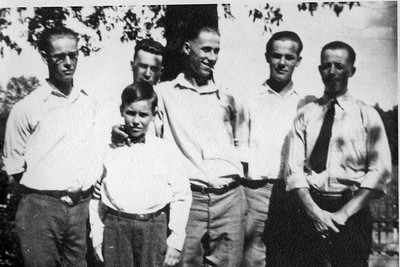 The six Jamison Brothers. L-R: Boyd, Woody, Milt, Russell, Carson & Earl. Undated but probably early 1920s.  Also check out the photos from the Earl Jamison Gallery!