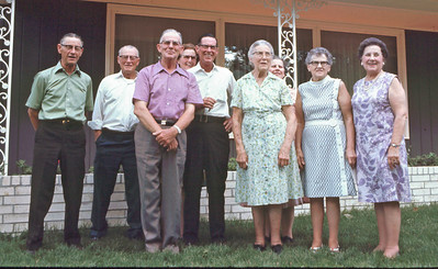 Jamison Family Reunion in Madison, KS - 4th of July 1971. Nine siblings: L-R, Boyd, Milt, Carson, Marylou, Woody, Victor, Kathryn, Ethyl & Ruth. Russell had passed away 10/34 and Earl 01/51.  Mom would be last at age 93.