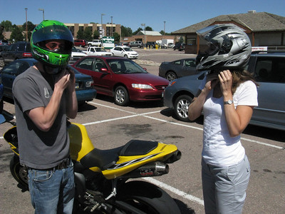 OK, Jason met us for lunch - now for the dessert ride. .. He brought along an extra helmet for Roberta.