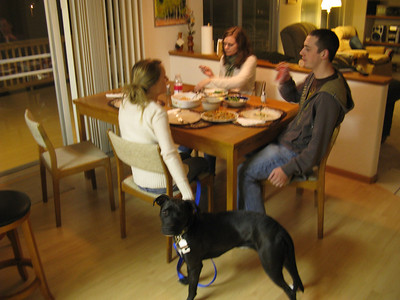 Sunday dinner at UB's - the local COS clan plus Roxie.