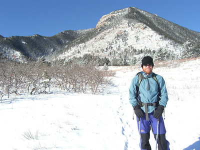 Blodgett Pk, 9423', looms in the background as Patrick embarks on his first snowshoe adventure.