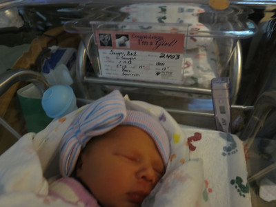 Sawyer, BG #2 - 5 lb, 12 oz, 19 in.  It's either Brooklyn Grace or Brynlee Hope - I can't keep track. :)