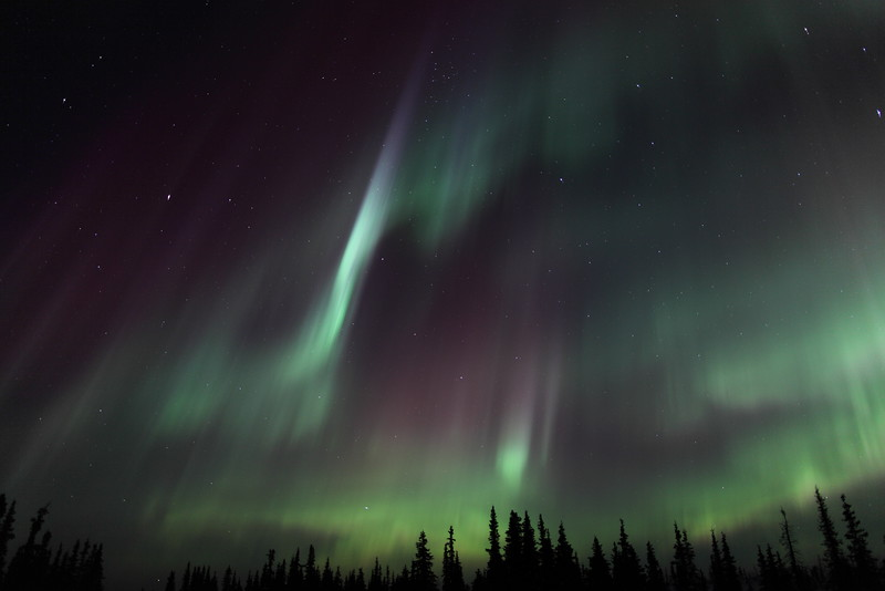Colorful Northern Lights at the Arctic Circle in Alaska on March 17, 2013 - 01:24 AM<br /> <br /> Canon 5D MKII with EF 24mm f/1.4L II