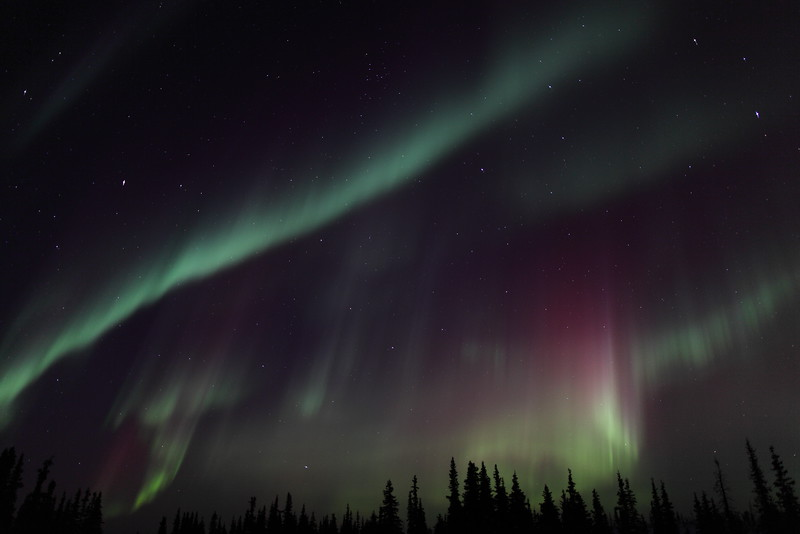 Colorful Northern Lights at the Arctic Circle in Alaska on March 17, 2013 - 01:11 AM<br /> <br /> Canon 5D MKII with EF 24mm f/1.4L II