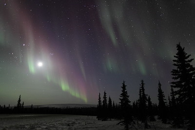 Northern Lights with Moon, Jupiter, Pleiades and constellations Taurus, Perseus and Andromeda at 00:15 AM on March 17, 2013 - Arctic Circle, Alaska  Canon 5D MKII with EF 24mm f/1.4L II