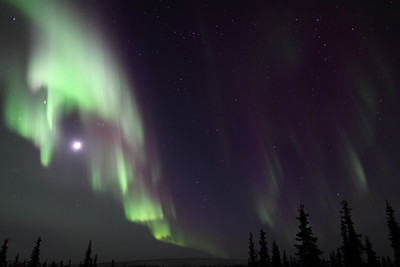 Northern Lights with Moon, Jupiter, Pleiades and constellations Taurus, Perseus and Cassiopeia at 11:25 PM on March 16, 2013 - Arctic Circle, Alaska   Canon 5D MKII with EF 24mm f/1.4L II