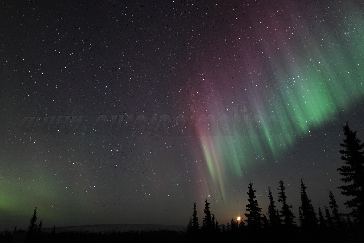 Colorful auroral curtain with setting Moon, Jupiter and Pleiades at 03:14 AM on March 17, 2013 - Arctic Circle, Alaska<br /> Constellations: Gemini, Taurus, Auriga and Perseus<br /> <br /> Canon 5D MKII with EF 24mm f/1.4L II