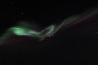 Colorful corona at 11:41 PM on March 16, 2013 - Arctic Circle, Alaska Constellations: Ursa Major (Big Dipper), Leo Minor and Lynx  Canon 5D MKII with EF 24mm f/1.4L II