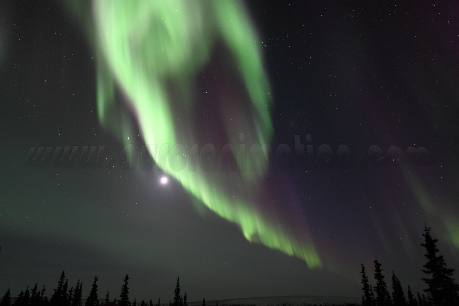 Northern Lights with Moon, Jupiter and Pleidades in constellation Taurus at 11:33 PM on March 16, 2013 - Arctic Circle, Alaska<br /> <br /> Canon 5D MKII with EF 24mm f/1.4L II