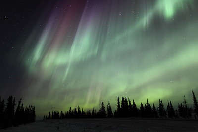 Very bright and colorful auroral curtains at 03:36 AM on March 17, 2013 - Arctic Circle, Alaska<br /> <br /> Canon 5D MKII with EF 24mm f/1.4L II
