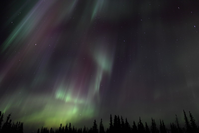 Colorful Northern Lights at the Arctic Circle in Alaska on March 17, 2013 - 01:20 AM<br /> <br /> Canon 5D MKII with EF 24mm f/1.4L II