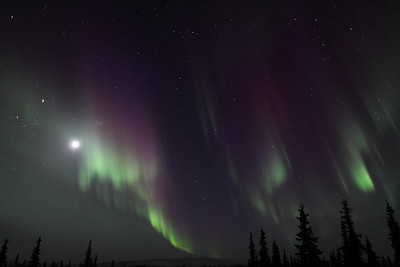 Northern Lights with Moon, Jupiter, Pleiades and constellations Taurus, Perseus and Cassiopeia at 11:23 PM on March 16, 2013 - Arctic Circle, Alaska   Canon 5D MKII with EF 24mm f/1.4L II